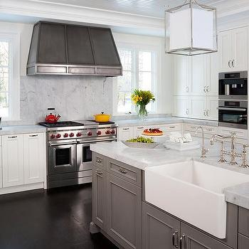 Island with Farmhouse Sink, Transitional, Kitchen