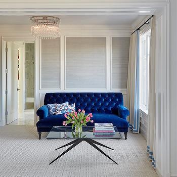 Cobalt Blue velvet Tufted Sofa, Transitional, Bedroom