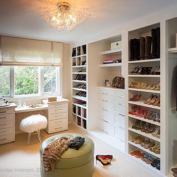 Walk In Closet with Trellis Wallpaper, Transitional, Closet