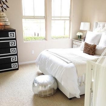 Skyline Tufted Nail Button Wingback Velvet Upholstered Bed White, Transitional, Bedroom
