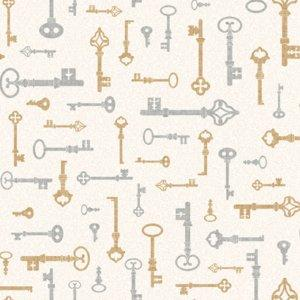 York SIlver and Gold Key Sidewall Wallpaper