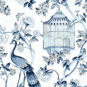 Schumacher Oiseaux et Fleurs Porcelain Wallpaper