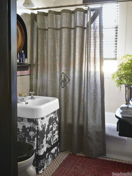 Chinoiserie Bathroom With Skirted Vanity Transitional Bathroom