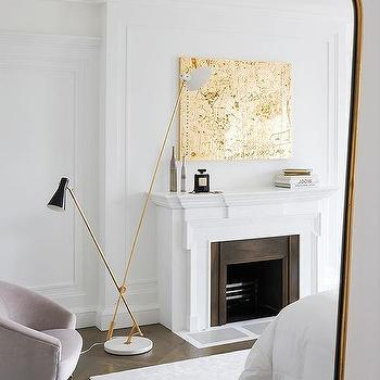 Gold Metallic Abstract Art over Fireplace, Contemporary, Bedroom