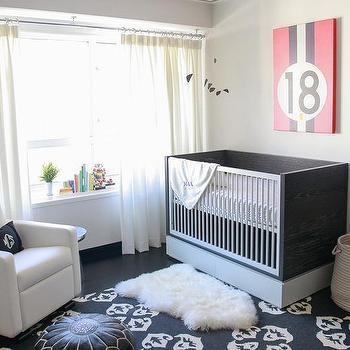 Nursery with Black and White Crib, Transitional, Nursery