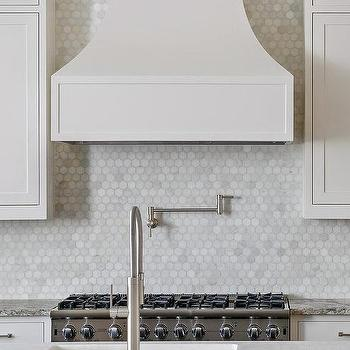 Kitchen with Carrera Marble Hex Tiles, Transitional, Kitchen