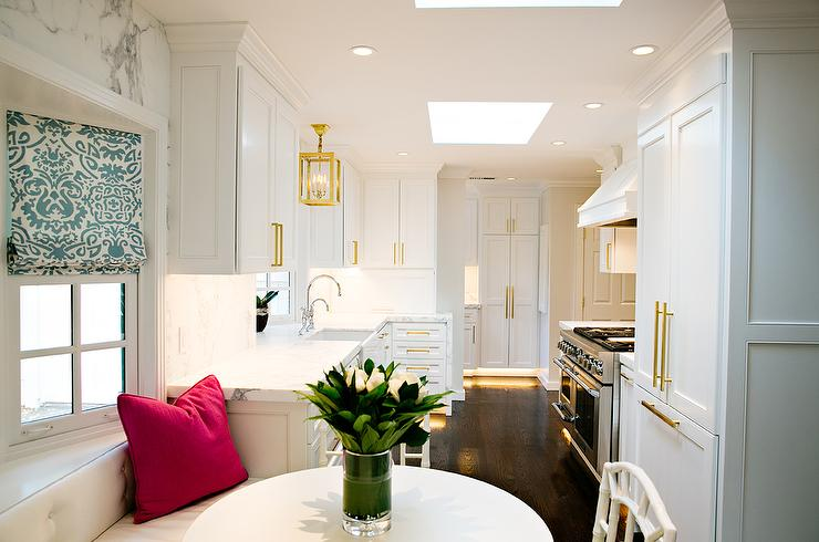 Built In Banquette Under Bay Window Transitional Kitchen