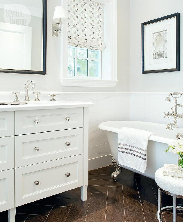 Master Bathroom With White Marble Wainscoting