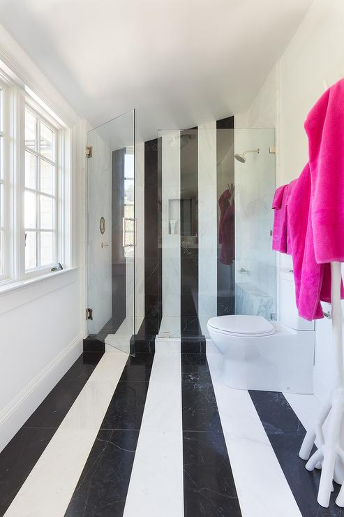 Bathroom with black and white stripe tiles contemporary for Black and white striped bathroom accessories