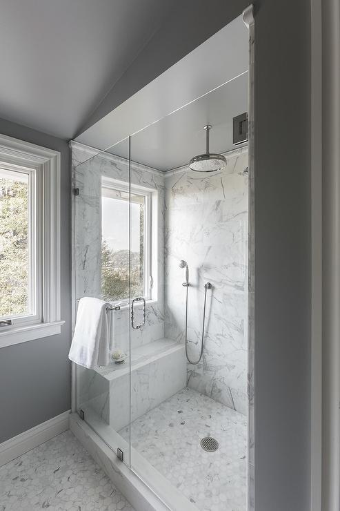 Shower Window Seat Transitional Bathroom