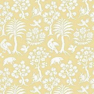 Schumacher Palm Damask Sunlight Wallpaper