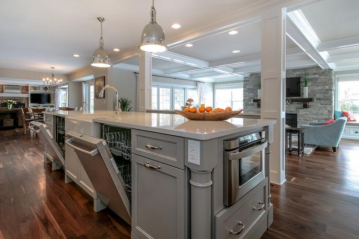 Kitchen island with double dishwashers transitional - Kitchen island with sink and dishwasher and seating ...