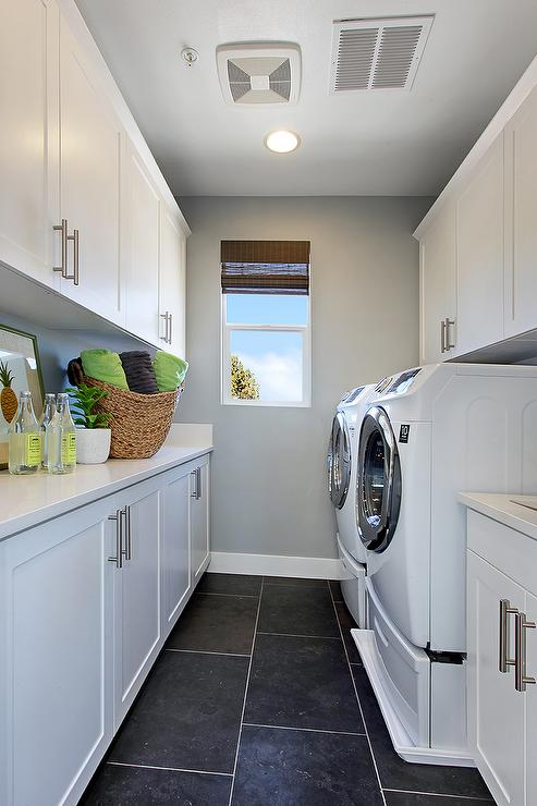 Galley Laundry Room Contemporary Laundry Room
