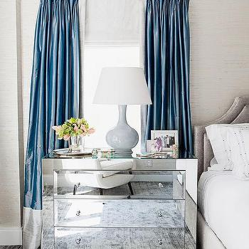 Blue and Gray Curtains, Transitional, Bedroom