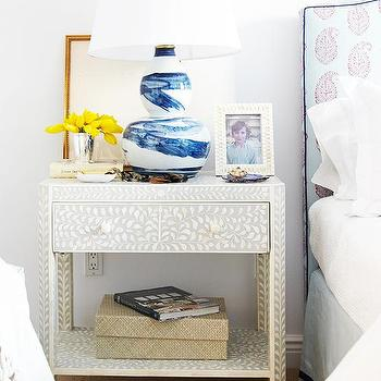 Black and White Bone Inlay Nightstand, Transitional, Bedroom