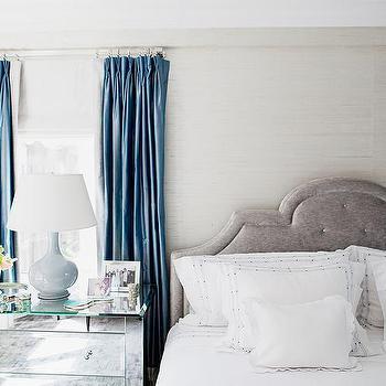 Platinum Gray Velvet Headboard, Transitional, Bedroom