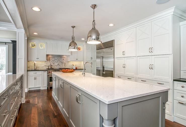 Kitchen Island Painted Gray Transitional Kitchen