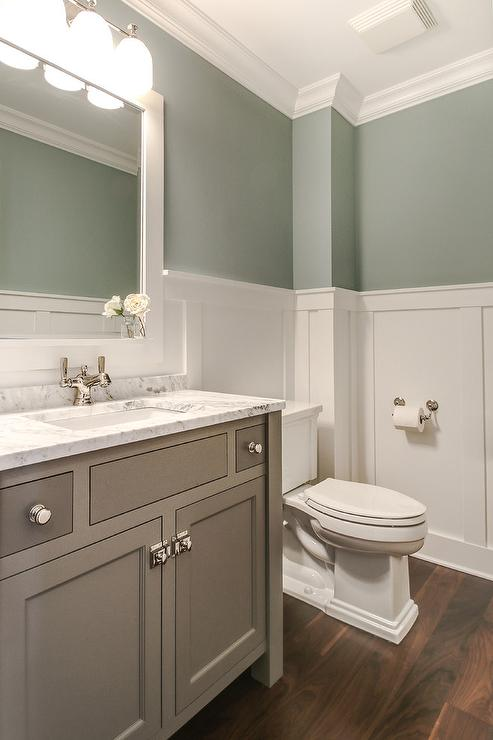 Tranquil bathroom design transitional bathroom for Green and gray bathroom designs