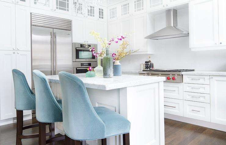 kitchen with turquoise velvet stools contemporary kitchen. Black Bedroom Furniture Sets. Home Design Ideas