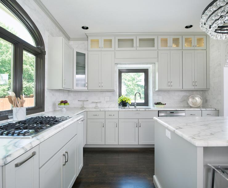 Gray Cabinet Over Kitchen Window