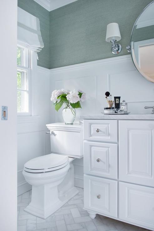 White Bathroom With Sea Foam Green Accents Transitional