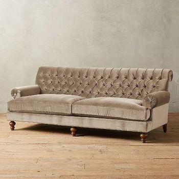 Velvet Fan Pleat Sofa