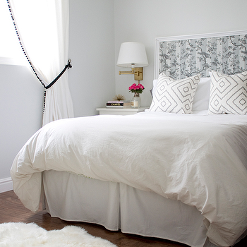 White Framed Headboard White And Black Curtains Png