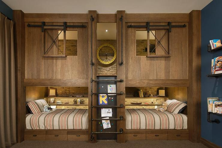 Rustic Cottage Boys Bunk Room Features Wood Plank Built In Bunk Beds