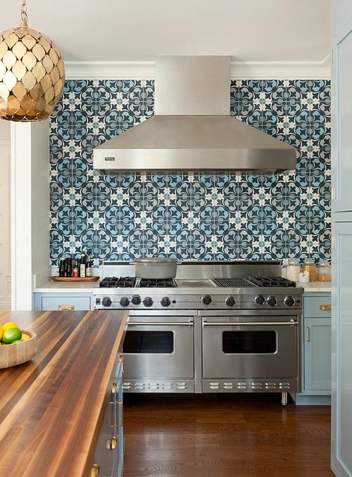 Blue gray backsplash tiles