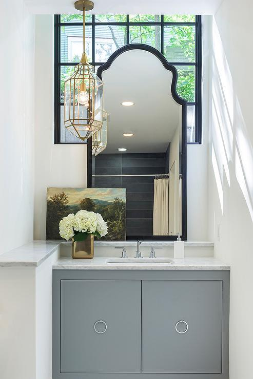 Gray Vanity With Carrera Marble Countertop And Gold Moroccan Lantern Transitional Bathroom