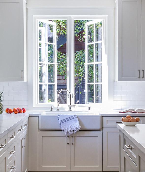 White Kitchen Dark Countertops
