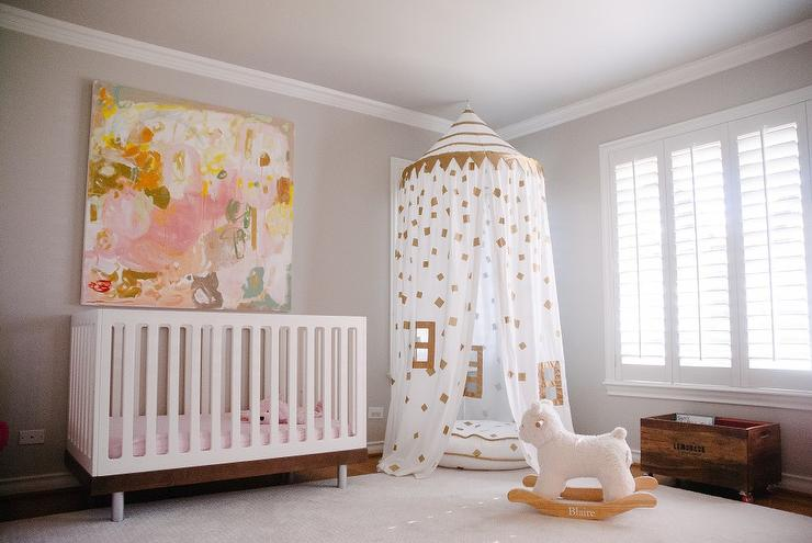 pink white and gold baby bedding