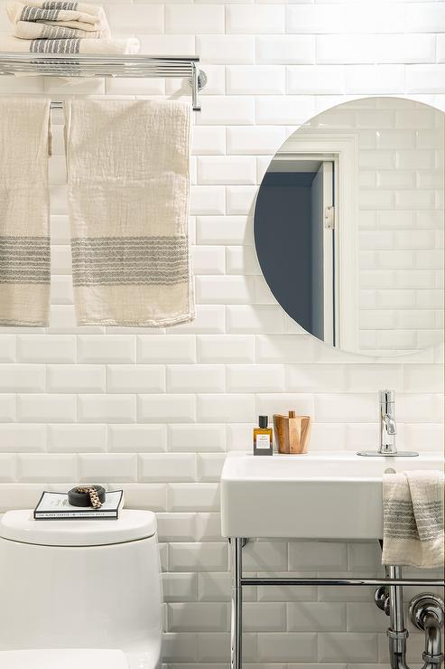 White beveled subway tile