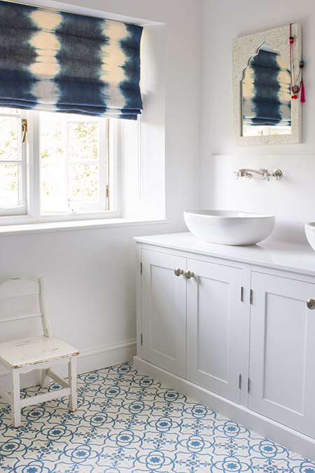 White And Blue Bathroom With Indigo Tie Dyed Roman Shade Transitional Bathroom