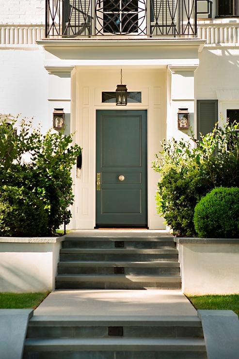Exterior bricks blue front door