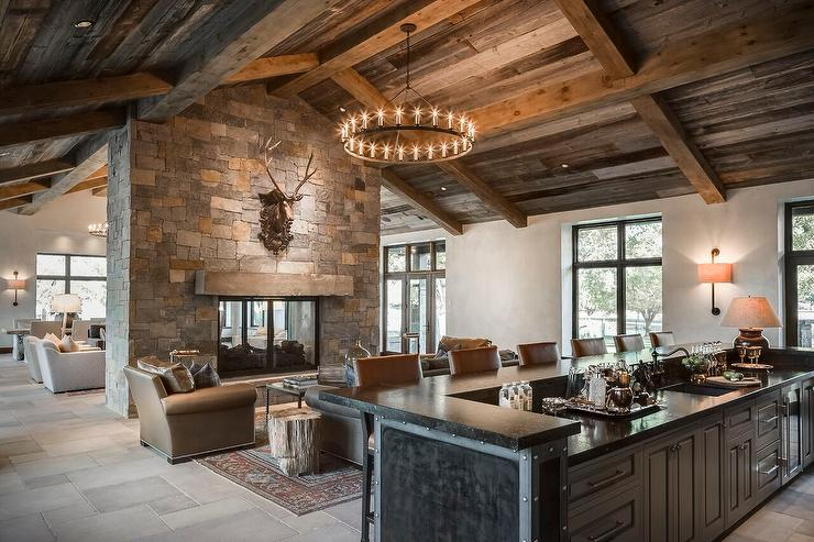 Country Living Room With Black Nailhead Wet Bar Country