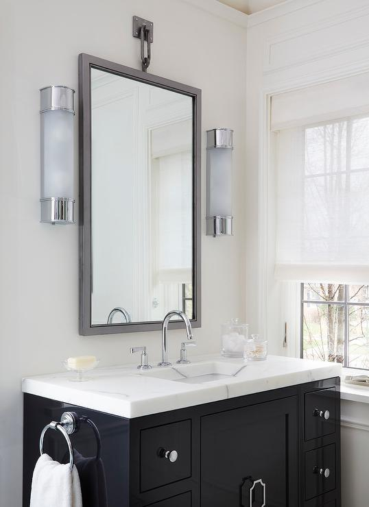 Black And White Bathroom With White Bamboo Mirror Contemporary Bathroom