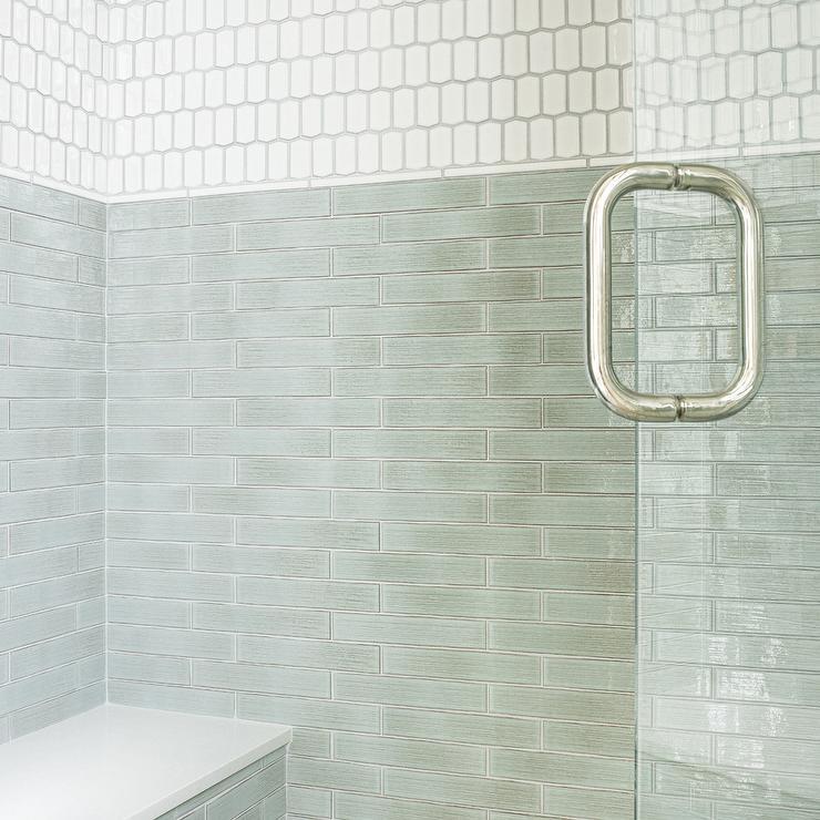 Tan glass subway tile