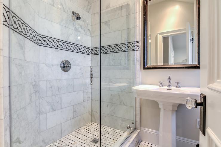 Basketweave tile bathroom