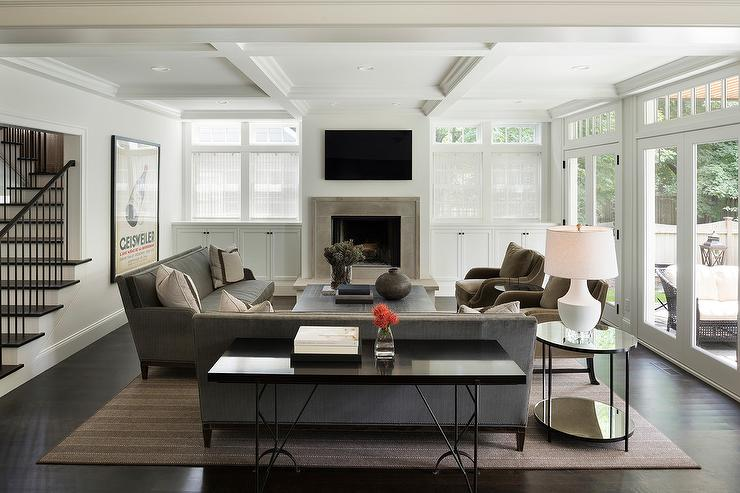 White Built In Cabinets Flanking Living Room Fireplace