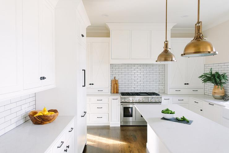 Black kitchen cabinets white subway tile