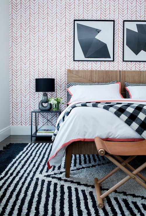 Black bedroom rug