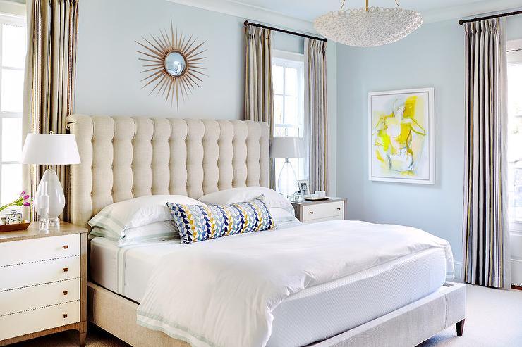 Cream tufted bed