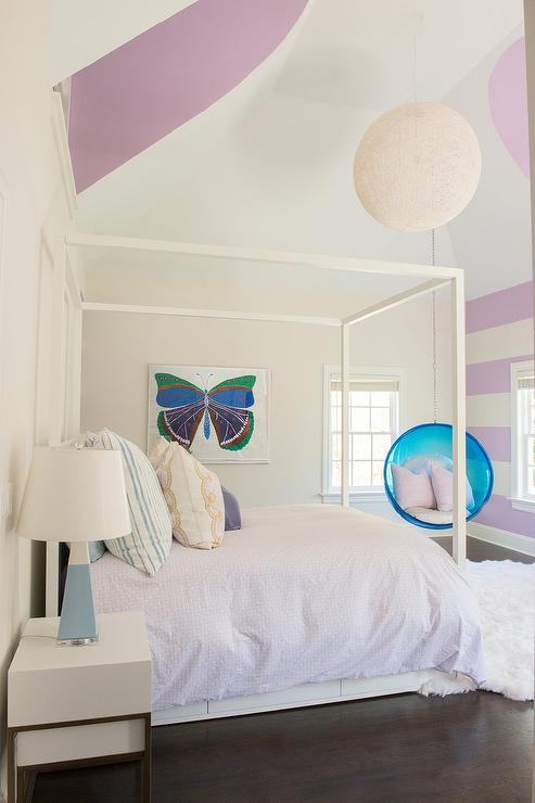 Purple Striped Walls In Girl Room Contemporary Girls Room