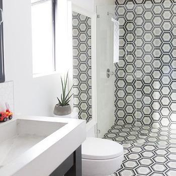 Black and white bathroom floor tile hexagon