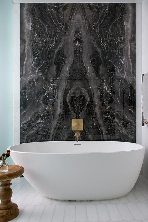Black Marble Bookmatched Bathtub Wall Contemporary Bathroom