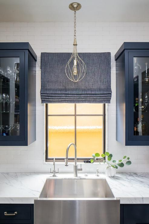 Blue Pantry Cabinets With Stainless Steel Apron Sink