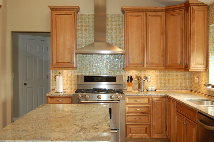 Newly renovated kitchen Kraft Maid maple cabinets in ginger glaze from Home  Depot.