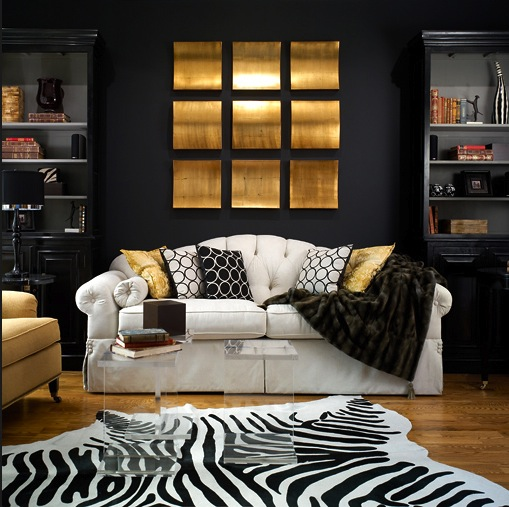 Black And Gold Living Room Contemporary Living Room