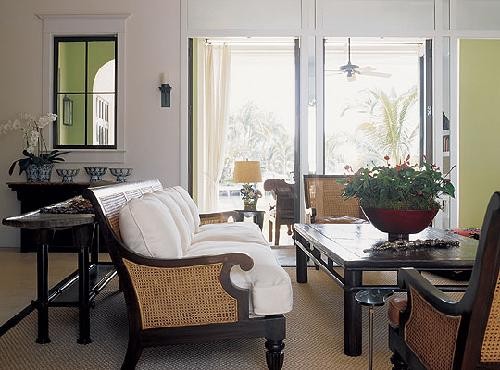 Asian Coffee Table, French Doors, Seagrass Sofas And Chairs! Brown Green  Black Living Room Colors.